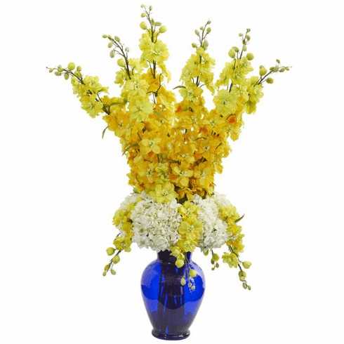"33"" Delphinium and Hydrangea Artificial Arrangement in Blue Vase - Yellow"
