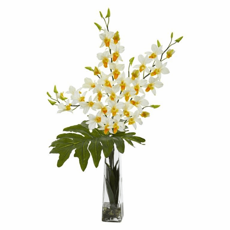 "33"" Dendrobium Tropical Orchid Artificial Arrangement in Vase - Cream"