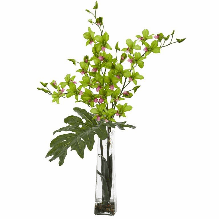 "33"" Dendrobium Tropical Orchid Artificial Arrangement in Vase - Green"