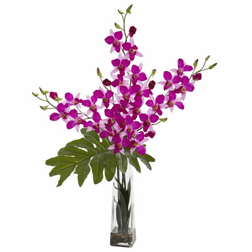 "33"" Dendrobium Tropical Orchid Artificial Arrangement in Vase - Purple"