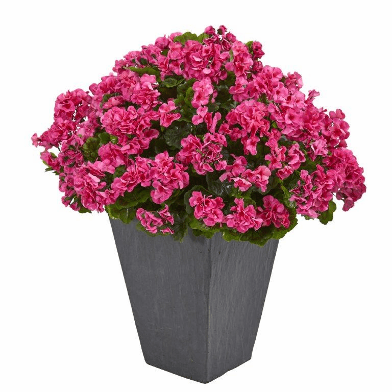 "33"" Geranium Artificial Plant in Slate Plater UV Resistant (Indoor/Outdoor) - Beauty"