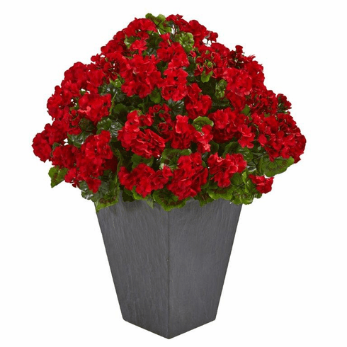 "33"" Geranium Artificial Plant in Slate Plater UV Resistant (Indoor/Outdoor) - Red"