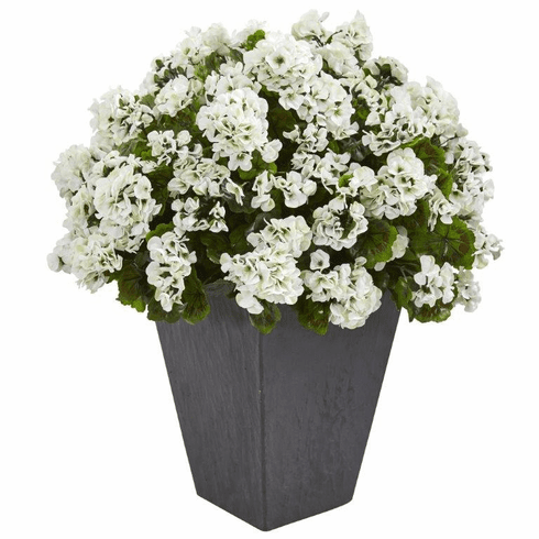 "33"" Geranium Artificial Plant in Slate Plater UV Resistant (Indoor/Outdoor) - White"