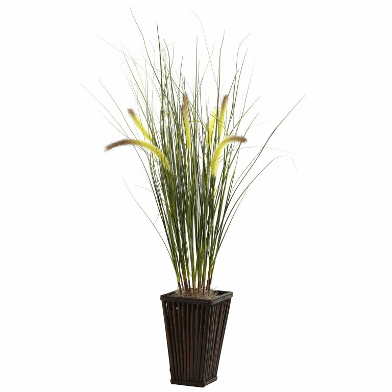 "33"" Grass with Cattails & Bamboo Planter"