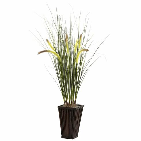 """33"""" Grass with Cattails & Bamboo Planter"""