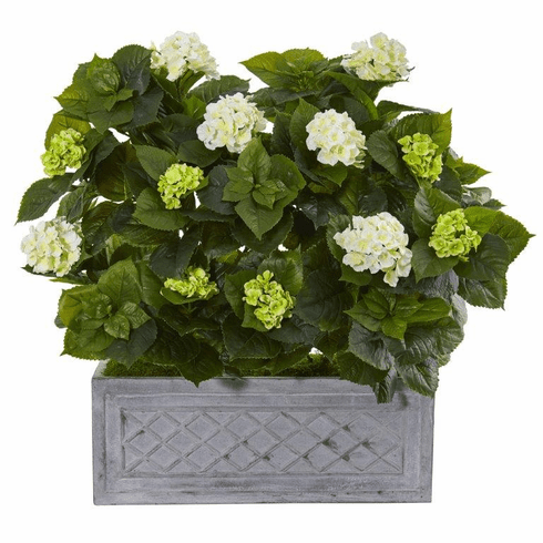 "33"" Hydrangea Artificial Plant in Stone Planter"