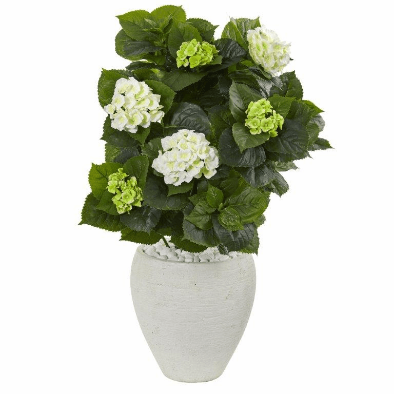 33� Hydrangea Artificial Plant in White Planter