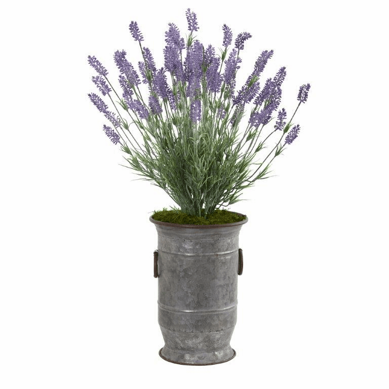 33� Lavender Artificial Plant in Decorative Metal Planter