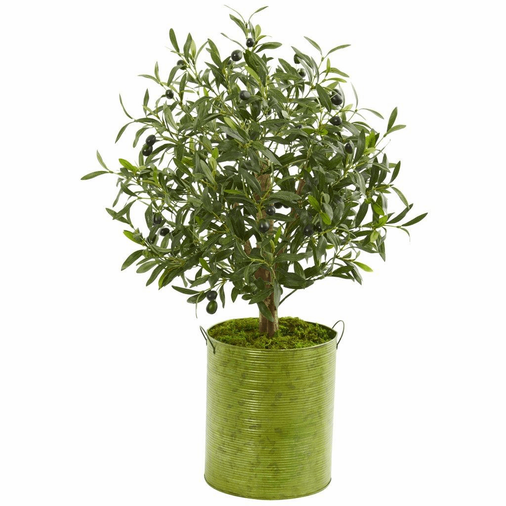 33� Olive Artificial Tree in Green Metal Planter