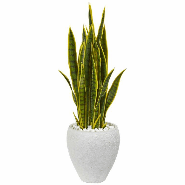 33� Sansevieria Artificial Plant in White Planter
