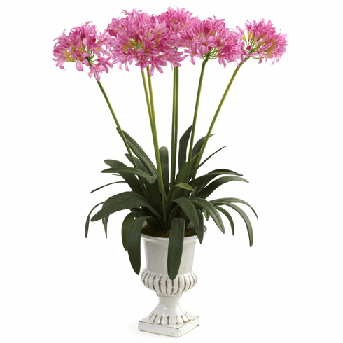 """34"""" African Lily Artificial Flower Arrangement with Urn - Pink"""