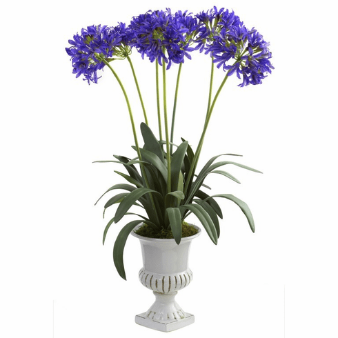 "34"" African Lily Artificial Flower Arrangement with Urn - Purple"