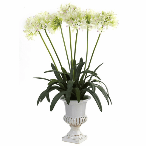 "34"" African Lily Artificial Flower Arrangement with Urn - White"
