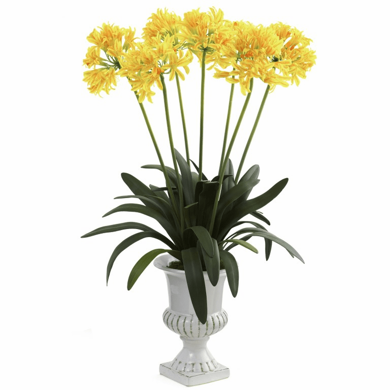 "34"" African Lily Artificial Flower Arrangement with Urn - Yellow"
