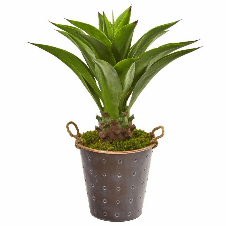 34� Agave Artificial Plant in Decorative Metal Pail with Rope