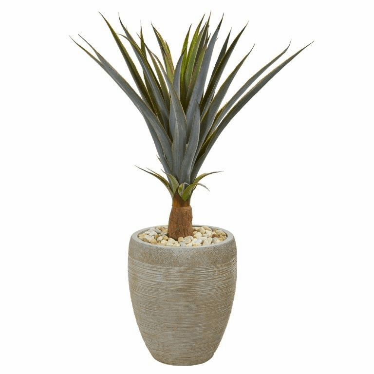 34� Agave Succulent Artificial Plant in Sandstone Planter