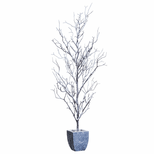 "34"" Artificial Snowed Twig Tree in Paper Mache Pot - Set of 2"