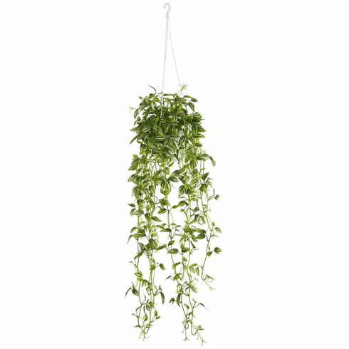 """34"""" Green Variegated Wandering Jew Hanging Basket Artificial Plant"""