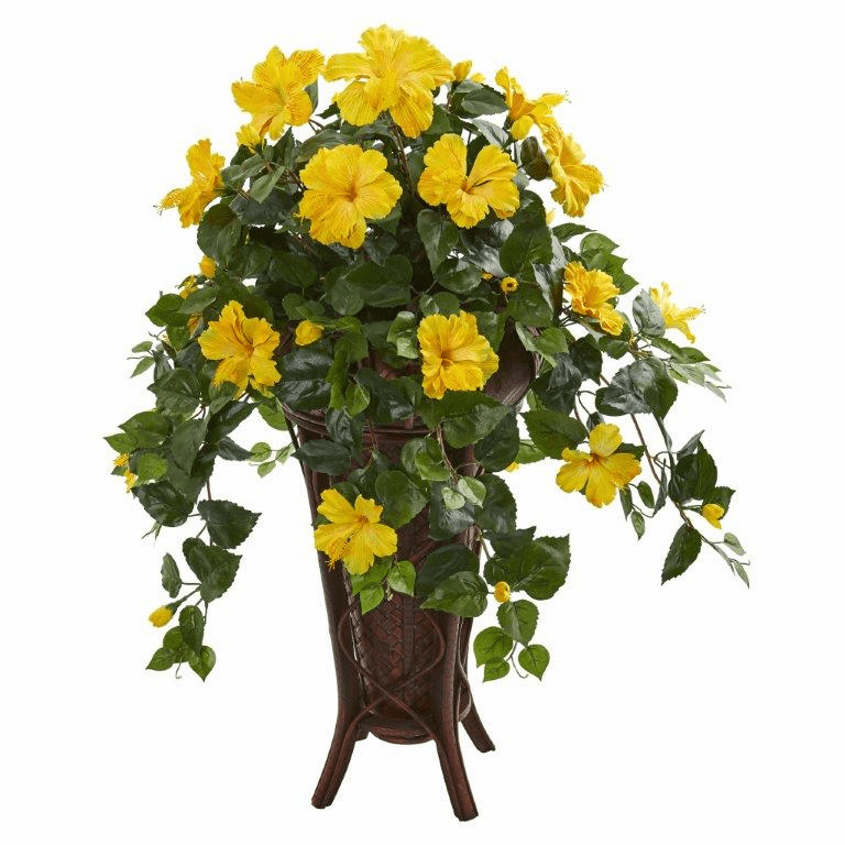 "34"" Hibiscus Artificial Plant in Stand Planter"