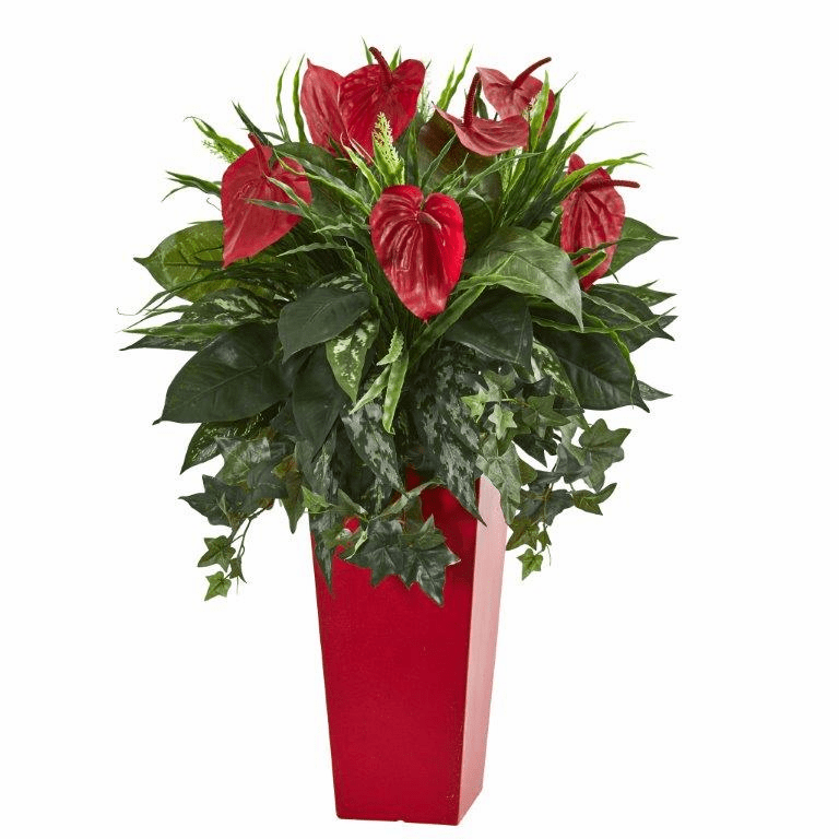 "34"" Mixed Anthurium Artificial Plant in Red Planter"