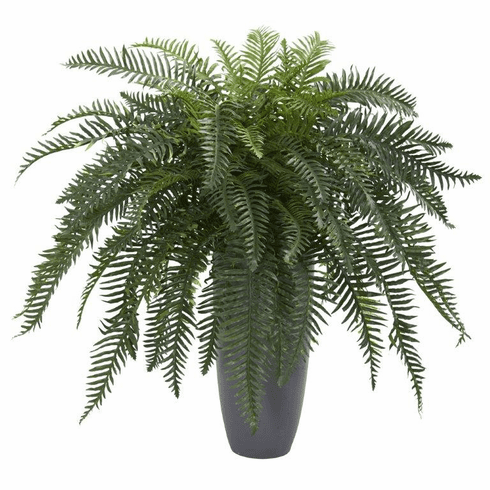 "34"" River Fern Artificial Plant in Cylinder Planter"
