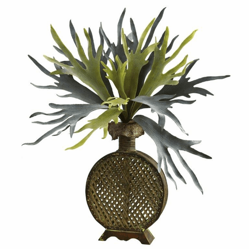 "34"" Staghorn Artificial Plant in Designer Weave Planter"