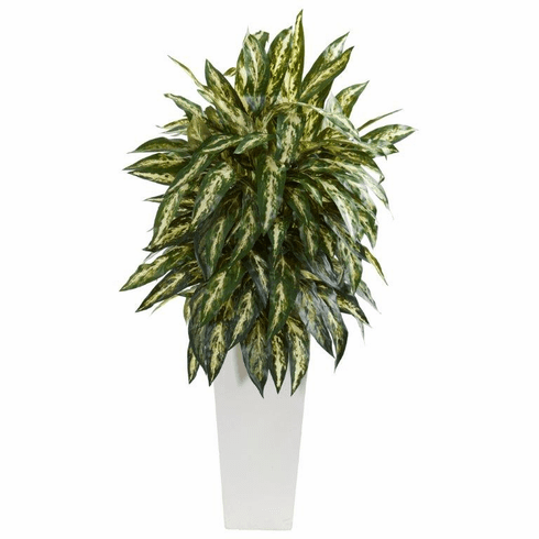 "35"" Aglonema Artificial Plant in White Planter"