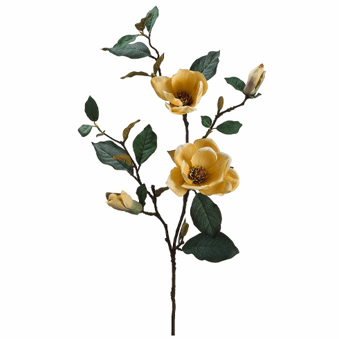 """35"""" Artificial Magnolia Spray with 2 Flowers and Buds - Set of 6 Silk Flowers"""