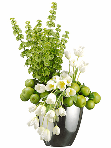 "35"" Artificial Tulip Flowers, Apples and Bells of Ireland Arrangement in Oval Vase"
