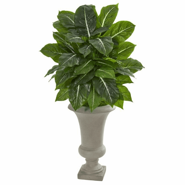 35� Evergreen Artificial Plant in Sandstone Urn (Real Touch)