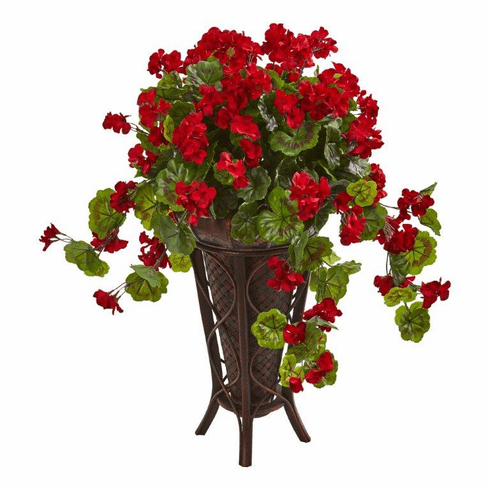 "35"" Geranium Artificial Plant in Stand Planter"
