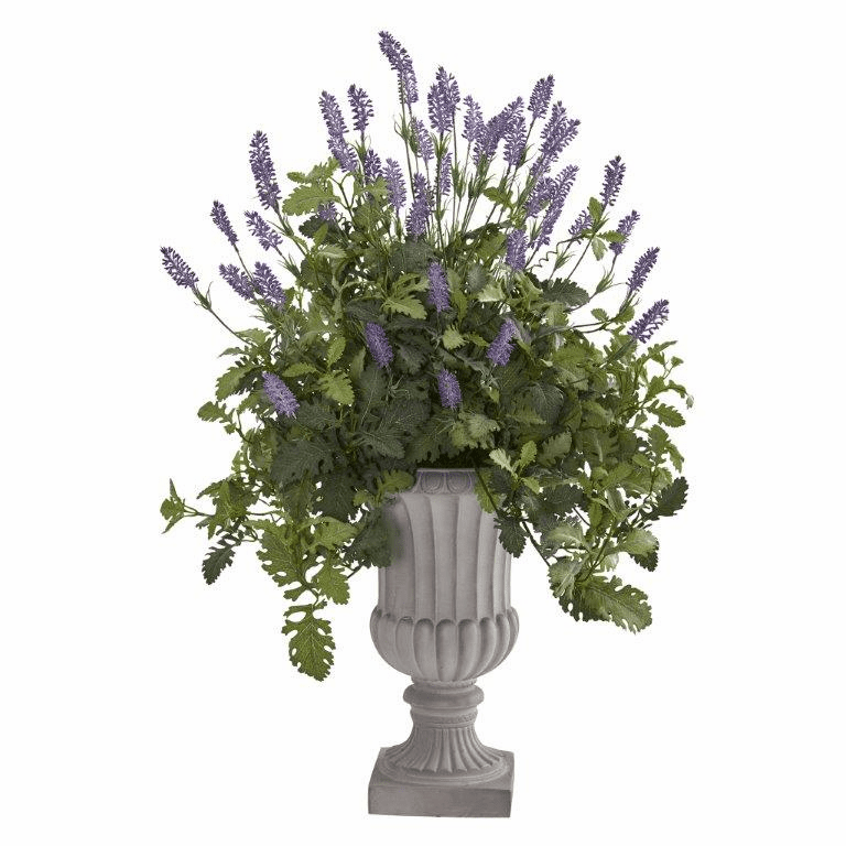 35� Lavender and Dusty Miller Artificial Plant in Urn