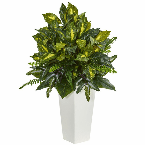 """35"""" Mixed Emerald Philodendron Artificial Plant in White Tower Planter"""