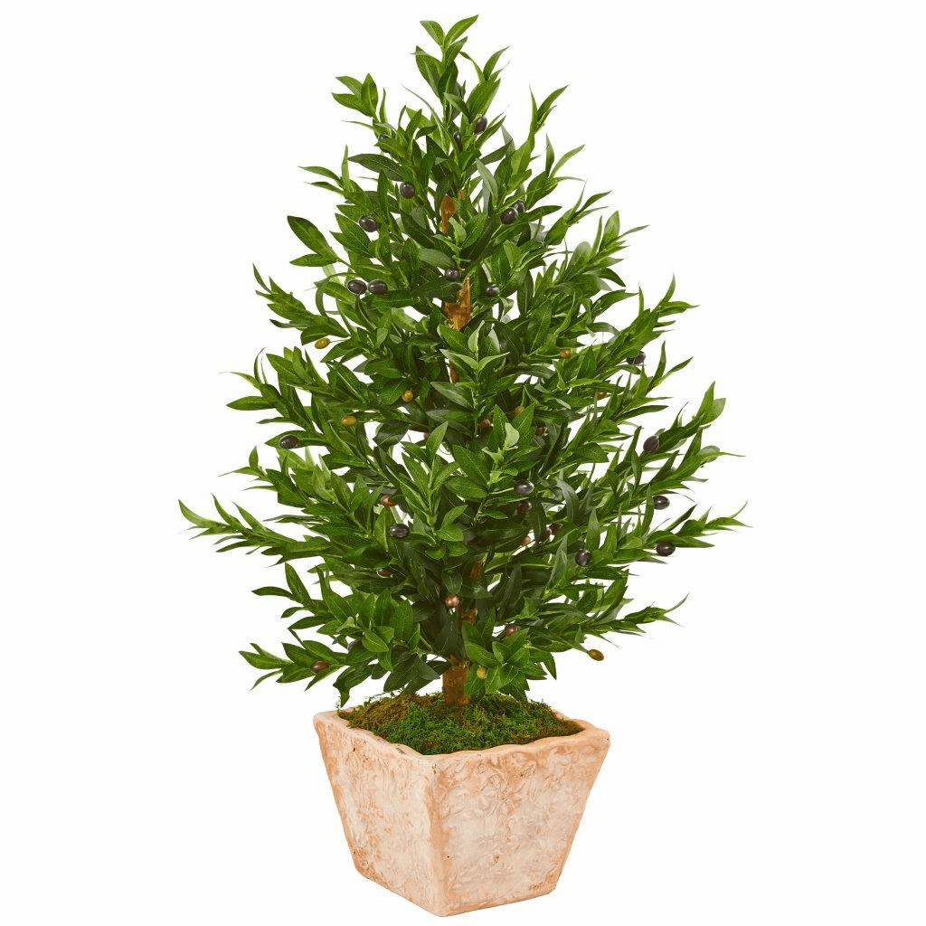 35� Olive Cone Topiary Artificial Tree in Terra Cotta Planter UV Resistant (Indoor/Outdoor)