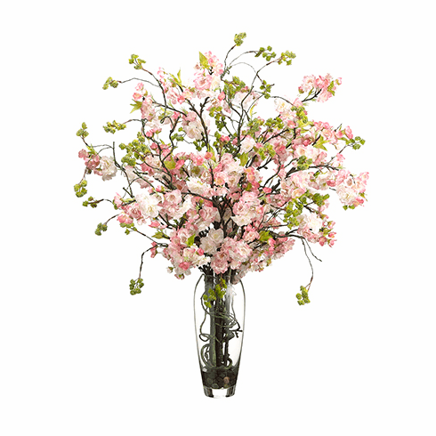 "35"" Silk Cherry Blossom Flower Arrangement in Glass Vase"