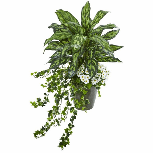 "35"" Silver King, Ivy and Daisy Artificial Plant in Decorative Planter"