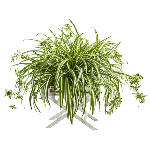 "35"" Spider Artificial Plant in Drawer Stand Planter"