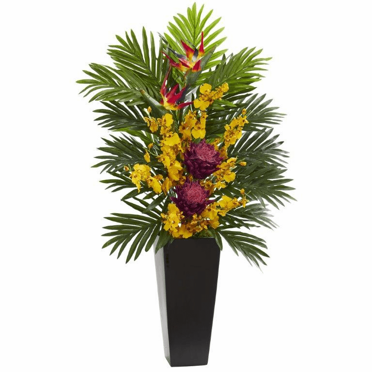 "35"" Tropical Floral & Orchid Artificial Arrangement in Black Vase - Mauve"