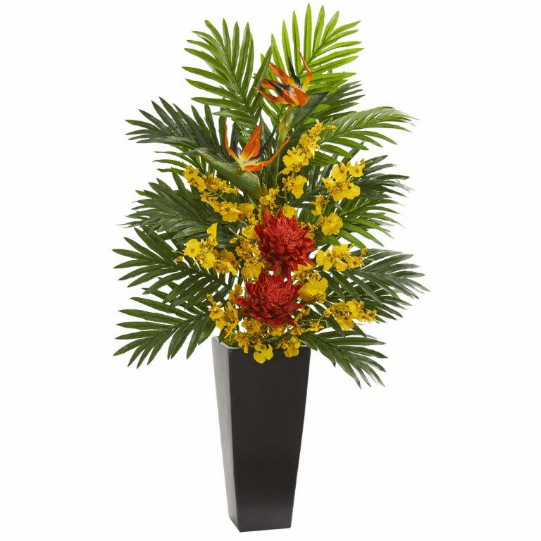 "35"" Tropical Floral & Orchid Artificial Arrangement in Black Vase - Orange"