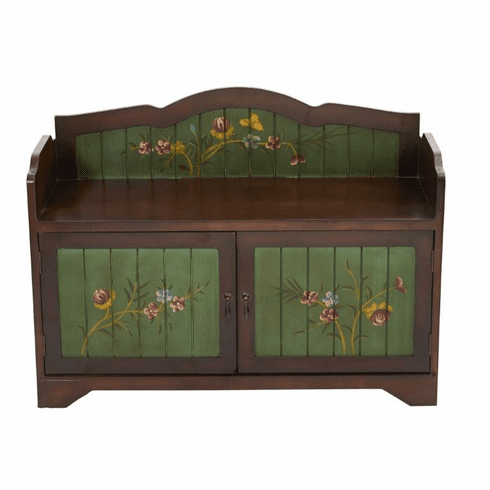 36'' Antique Floral Art Bench with Drawers -
