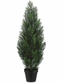"36"" Artificial Cedar Topiary Tree in Plastic Container - Set of 2"