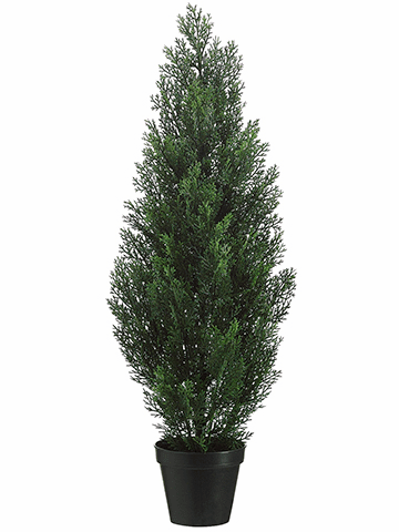 """36"""" Artificial Cedar Topiary Tree in Plastic Container - Set of 2"""