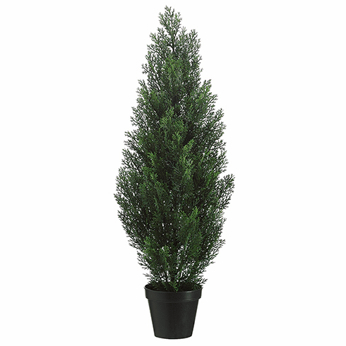 """36"""" Artificial Cedar Topiary Tree in Plastic Container - Set of 4 (shown in Green)"""