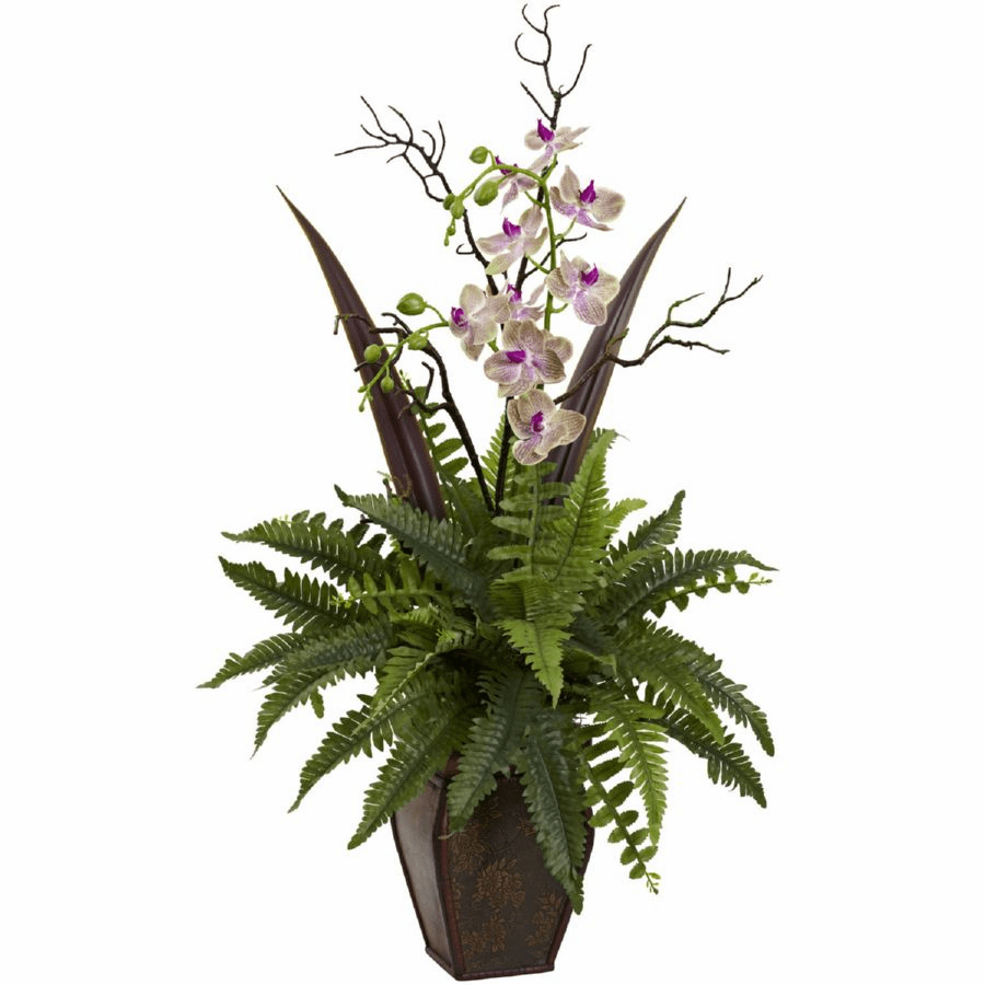"36"" Artificial Fern & Orchid Flower Arrangement"