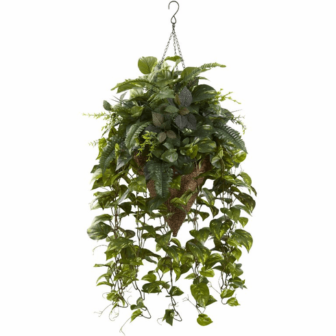 """36"""" Artificial Vining Mixed Greens with Cone Hanging Basket"""
