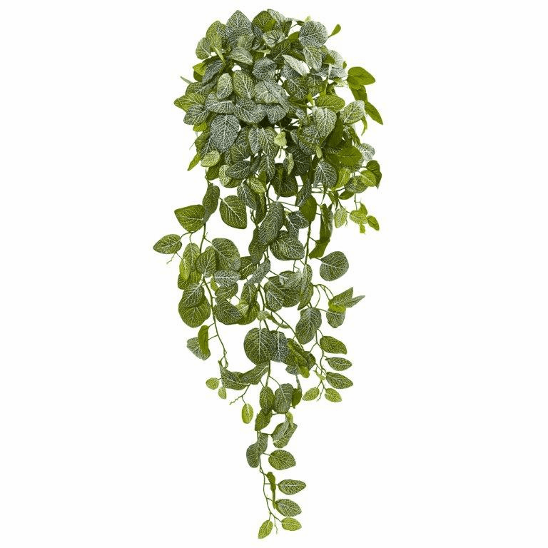 36� Fittonia Hanging Bush Artificial Plant (Set of 2) (Real Touch)