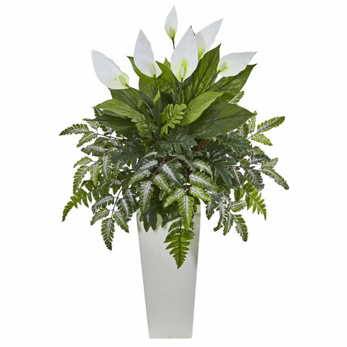 """36"""" Mixed Spathifyllum Artificial Plant in White Tower Vase"""