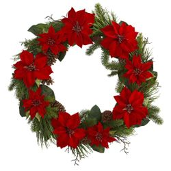 """36"""" Poinsettia Flower and Pine Artificial Wreath"""