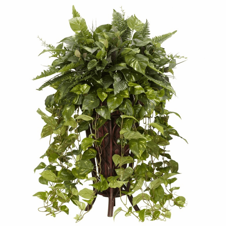 """36"""" Vining Mixed Greens with Decorative Stand Silk Plant"""