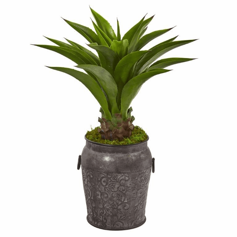 37� Agave Artificial Plant in Metal Planter